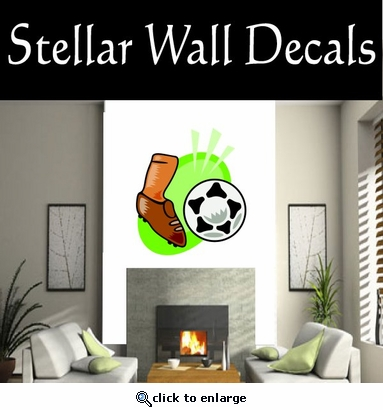 Soccer Futball Running Kicking Kick Score Goal Goalie Players CDSCOLOR170 Sport Sports Wall or Car Vinyl Decal Sticker Mural