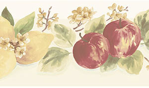 Lemons and Apples Die Cut Wallpaper Border in Kitchen Concepts 2