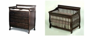 Milano crib with change table dresser - Java /White or Cherry -