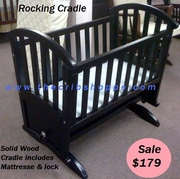 ROCKING CRADLE WOODEN WITH LOCK & MATTRESSE PAD - Espresso -