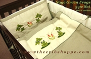 Sage Green Frogs 6 Pc Bedding Set