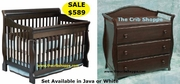 Milano crib and change table set - Java or White