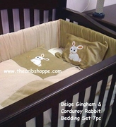 Beige Gingham & Corduroy Bunny Rabbit 7 pc