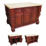 Dark Red Kitchen Island-ISL01-RED