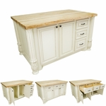Antique White Kitchen Island with Smaller Drawers-ISL05-AWH