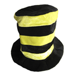 Black & Yellow Striped Tall Top Hat
