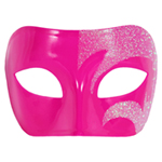 Mystic Holographic Glitter & Pink Venetian Masquerade Mask