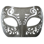 Dream Tale Gray Transparent Venetian Masquerade Mask with Glitter