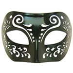 Dream Tale Black Venetian Masquerade Mask with Green Glitter