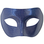 Blue Venetian Masquerade Mask with Silver Glitter