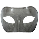 Gray Transparent Venetian Masquerade Mask with Glitter