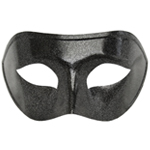 Black Venetian Masquerade Mask with Silver Glitter