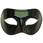 Black Venetian Masquerade Mask with Green Glitter