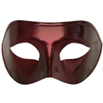 Black Venetian Masquerade Mask with Red Glitter
