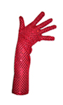 Long Sexy Red Sequin Gloves