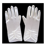 Short Ivory Satin Gloves with Pearls