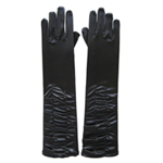 Glamorous Black Satin Ruched Gloves