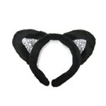 Black Plush Sequin Cat Ears Costume Accessory