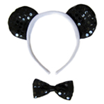 Sequin Panda Bear Ears & Bow Tie Costume Set