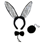 Black Plush Sequin Bunny Ears Costume Set