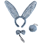 Gray Plush Sequin Bunny Ears Costume Set