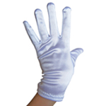 Stretchy White Satin Gloves (Wrist Length)