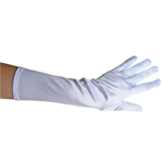 Stretchy White Satin Gloves (Elbow Length)