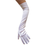 Stretchy White Satin Gloves (Opera Length)
