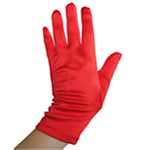Stretchy Red Satin Gloves (Wrist Length)