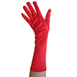 Stretchy Red Satin Gloves (Elbow Length)