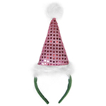Pink Sequin Santa Hat Headband