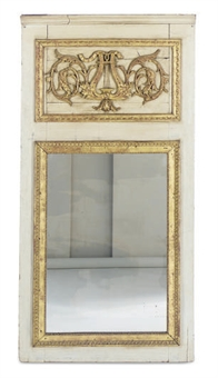 Louis XVI Green-Painted and Parcel-Gilt Trumeau Mirror