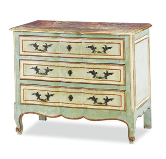 A POLYCHROME-PAINTED FAUX MARBLE SERPENTINE COMMODE