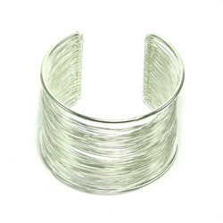 Brass Wire Wrap Cuff - Silver