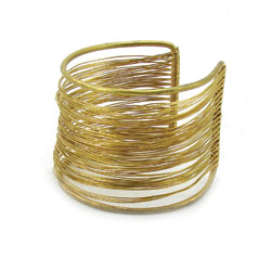 Brass Wire Wrap Cuff - Gold