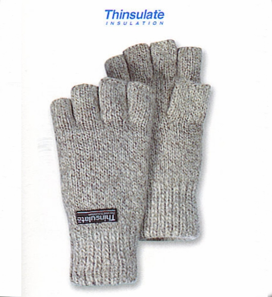 Fingerless Ragg Wool Thinsulate Lined Gloves