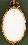 Oval Mirror with Gold Crest
