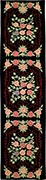 Oval Hand Hooked Rug - Rose Bouquets on Black