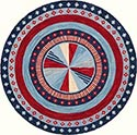Hand Hooked Rug  - Dart Board Red and Blue