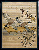 Hand Hooked Grenfell Rug  - Mallards in Flight