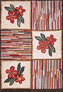 Hand Hooked Rug  - Flowers and Stripes