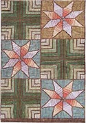 Hand Hooked Rug  - Star and Block Design
