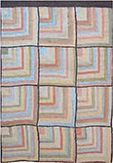 Hand Hooked Rug  - Tiled Corners in Blue
