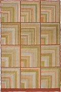 Hand Hooked Rug  - Tiled Corners in Green