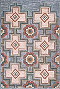Hand Hooked Rug  - Floral Block Pattern