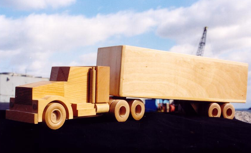Handcrafted Wooden Toy Lowboy Trailer