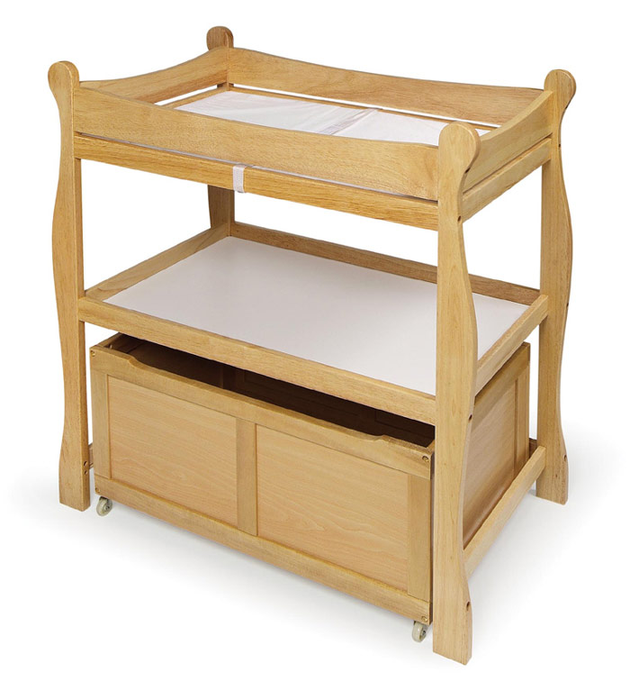 Badger Basket Sleigh Changing Table With Rolling Lower Bin   Assorted Colors