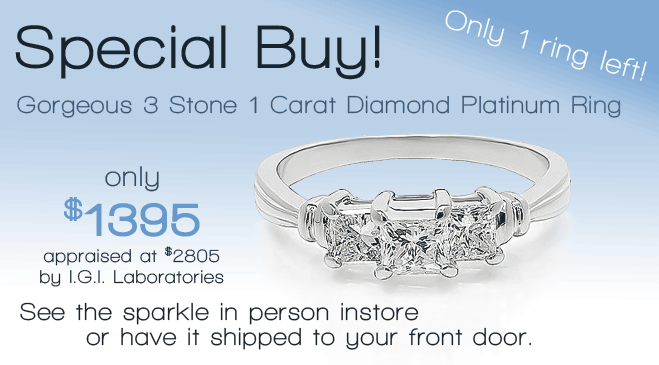 Special buy in modesto- gorgeous 3 stone 1 carat diamond platinum ring - killer deal!