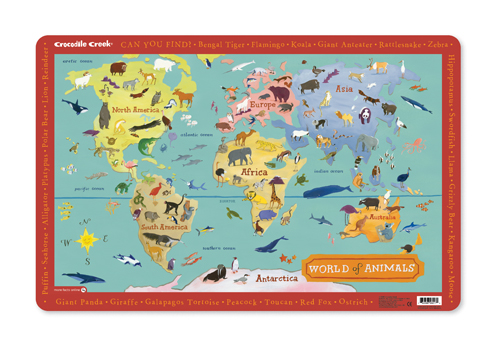 Crocodile Creek Placemat World of Animals