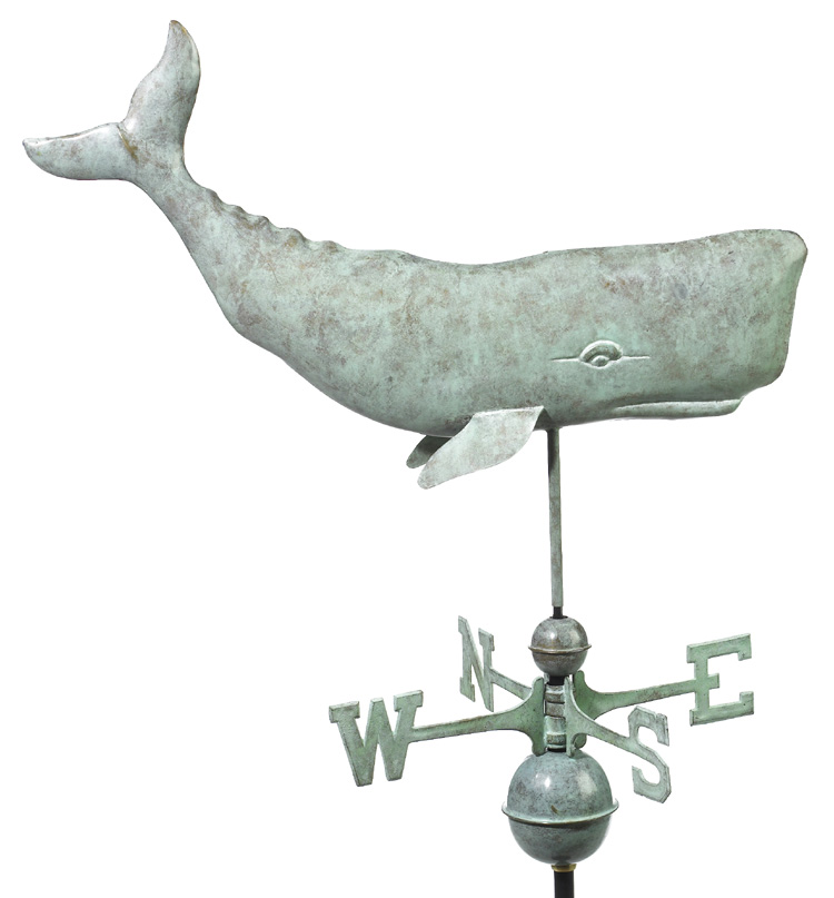 Whale Weathervane - Blue Verde Copper
